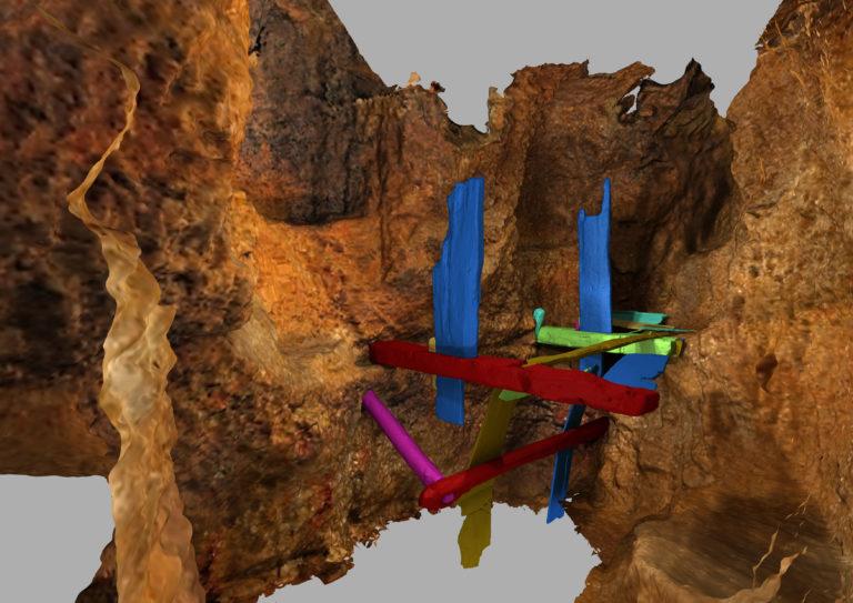 © LfA Sachsen, Virtuelle Rekonstruktion Haspel. Das 3D-Laserscanning und die sog. Mehrbildphotogrammetrie (Structure from Motion) unterstützen und ergänzen die Vermessung unter Tage. So können 3D-Visualisierungen dargestellt werden.
